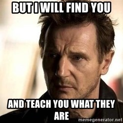 Liam Neeson meme - But I will find you And teach you what they are