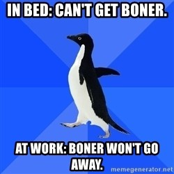 Socially Awkward Penguin - in bed: can't get boner. at work: boner won't go away.