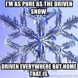 Special Snowflake meme - I'm as pure as the driven snow.  Driven everywhere but home that is.