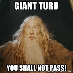 You shall not pass - giant turd you shall not pass!
