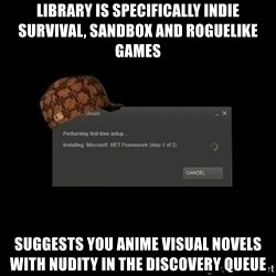 Scumbag Steam - Library is specifically indie survival, sandbox and roguelike games Suggests you anime visual novels with nudity in the discovery queue