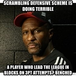 Dwane Casey's Guide to Smallball - Scrambling defensive scheme is doing terrible A player who lead the league in blocks on 3pt attempts? Benched