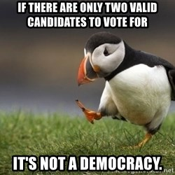Unpopular Opinion Puffin - if there are only two valid candidates to vote for it's not a democracy.