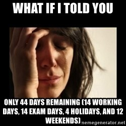 todays problem crying woman - what if i told you only 44 days remaining (14 working days, 14 exam days, 4 holidays, and 12 weekends)