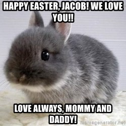 ADHD Bunny - Happy Easter, Jacob! We love you!! Love always, Mommy and Daddy!