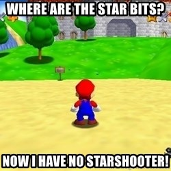 Mario looking at castle - Where are the star bits? Now I have no Starshooter!