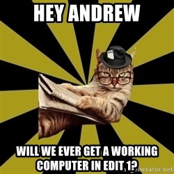 Frustrated Journalist Cat - HEY ANDREW WILL WE EVER GET A WORKING COMPUTER IN EDIT 1?