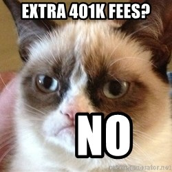 Angry Cat Meme - Extra 401k Fees?     No