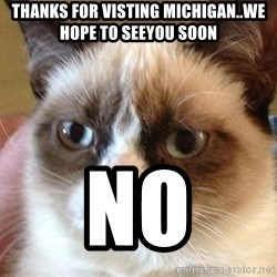 Angry Cat Meme - Thanks For Visting Michigan..We Hope To SeeYou Soon No