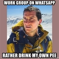 Bear Grylls Piss - Work group on whatsapp Rather drink my own pee