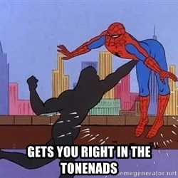 crotch punch spiderman -  gets you right in the tonenads