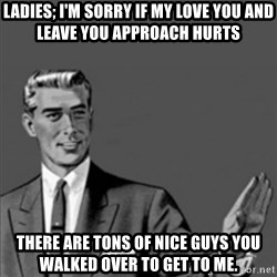 Correction Guy - Ladies; i'm Sorry if my Love you and leave you approach hurts There are tons of nice guys you walked over to get to me.