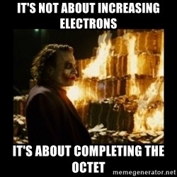 Not about the money joker - It's not about increasing electrons It's about completing the octet