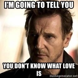 Liam Neeson meme - I'm going to tell you  You don't know what love is