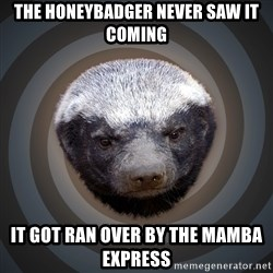 Fearless Honeybadger - the honeybadger never saw it coming it got ran over by the mamba express