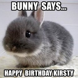 ADHD Bunny - bunny  says... happy  birthday kirsty