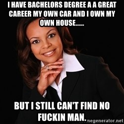 Irrational Black Woman - I have bachelors degree a a great career my own car and I own my own house...... but I still can't find no fuckin man.
