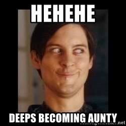 Toby Maguire trollface - hehehe deeps becoming aunty