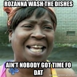 Ain't nobody got time fo dat so - Rozanna wash the dishes Ain't nobody got time fo dat