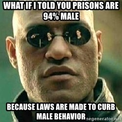 What if I told you / Matrix Morpheus - what if i told you prisons are 94% male because laws are made to curb male behavior