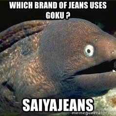 Bad Joke Eel v2.0 - which brand of jeans uses goku ? Saiyajeans
