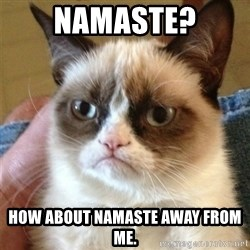 Grumpy Cat  - namaste? how about namaste away from me.
