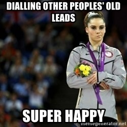 unimpressed McKayla Maroney 2 - dialling other peoples' old leads SUPER HAPPY