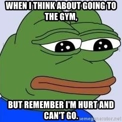 Sad Frog Color - When I think about going to the gym, But remember I'm hurt and can't go.