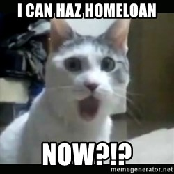 Surprised Cat - I Can Haz Homeloan  Now?!?