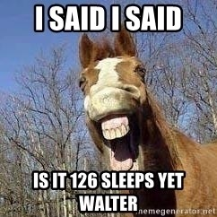 Horse - I said I SAID Is it 126 sleeps yet Walter