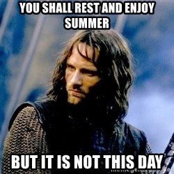 Not this day Aragorn - YOU SHALL REST AND ENJOY SUMMER BUT IT IS NOT THIS DAY