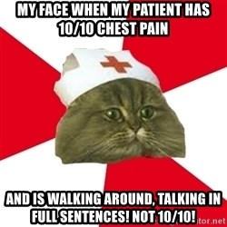 Nursing Student Cat - My face when my patient has 10/10 chest pain and is walking around, talking in full sentences! Not 10/10!