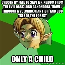 Link - Chosen By Fate To Save A Kingdom From The Evil Dark Lord Ganondorf, Travel Through A Volcano, Gian Fish, And God Tree Of The Forest Only A Child