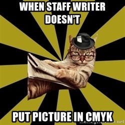 Frustrated Journalist Cat - When Staff writer doesn't  Put picture in CMYK