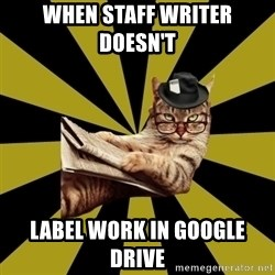 Frustrated Journalist Cat - When Staff writer doesn't  Label work in google drive