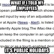 DONT KNOW WITCH FONT MEMES USE - WHAT IF I TOLD MY EMPLOYEES IT'S PUBLIC HOLIDAYS