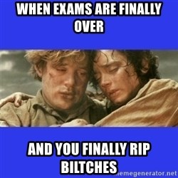 Lord of the Rings - when exams are finally over and you finally rip biltches