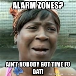 No time for that - Alarm zones? Ain't nobody got time Fo dat!
