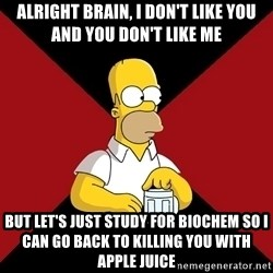Homer Jay Simpson - Alright brain, I don't like you and you don't like me But let's just study for Biochem so I can go back to killing you with Apple juice
