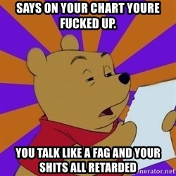 Skeptical Pooh - says on your chart youre fucked up. you talk like a fag and your shits all retarded