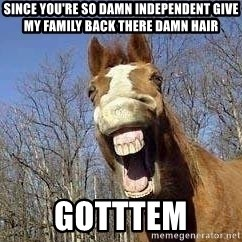 Horse - Since you're so damn independent give my family back there damn hair Gotttem