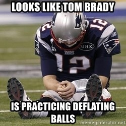 Sad Tom Brady - looks like tom brady is practicing deflating balls