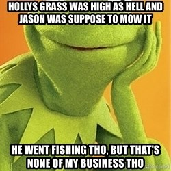 Kermit the frog - Hollys grass was high as hell and Jason was suppose to mow it he went fishing tho, but that's none of my business tho