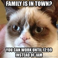 Angry Cat Meme - Family is in town? You can work until 12:59 instead of 1am