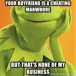 Kermit the frog - your boyfriend is a cheating manwhore But that's none of my business