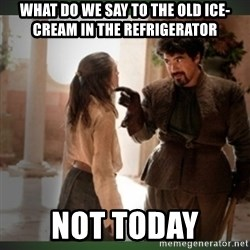 What do we say to the god of death ?  - what do we say to the old ice-cream in the refrigerator not today