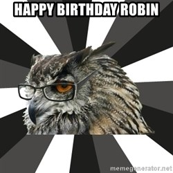 ITCS Owl - Happy Birthday Robin