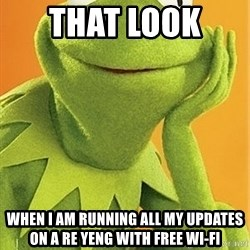 Kermit the frog - That look  When I am running all my updates on A Re Yeng with free Wi-fi