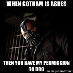 Bane Meme - When Gotham is ashes then you have my permission to bro