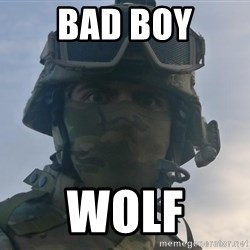 Aghast Soldier Guy - bad boy wolf